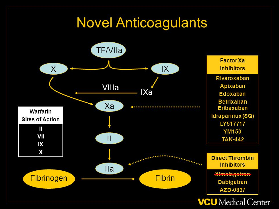 Novel Anticoagulants FibrinogenFibrin IIa II Xa Direct Thrombin Inhibitors Ximelagatran Dabigatran AZD-0837 Factor Xa Inhibitors Rivaroxaban Apixaban Edoxaban Betrixaban Eribaxaban Idraparinux (SQ) LY YM150 TAK-442 TF/VIIa XIX IXa VIIIa Warfarin Sites of Action II VII IX X