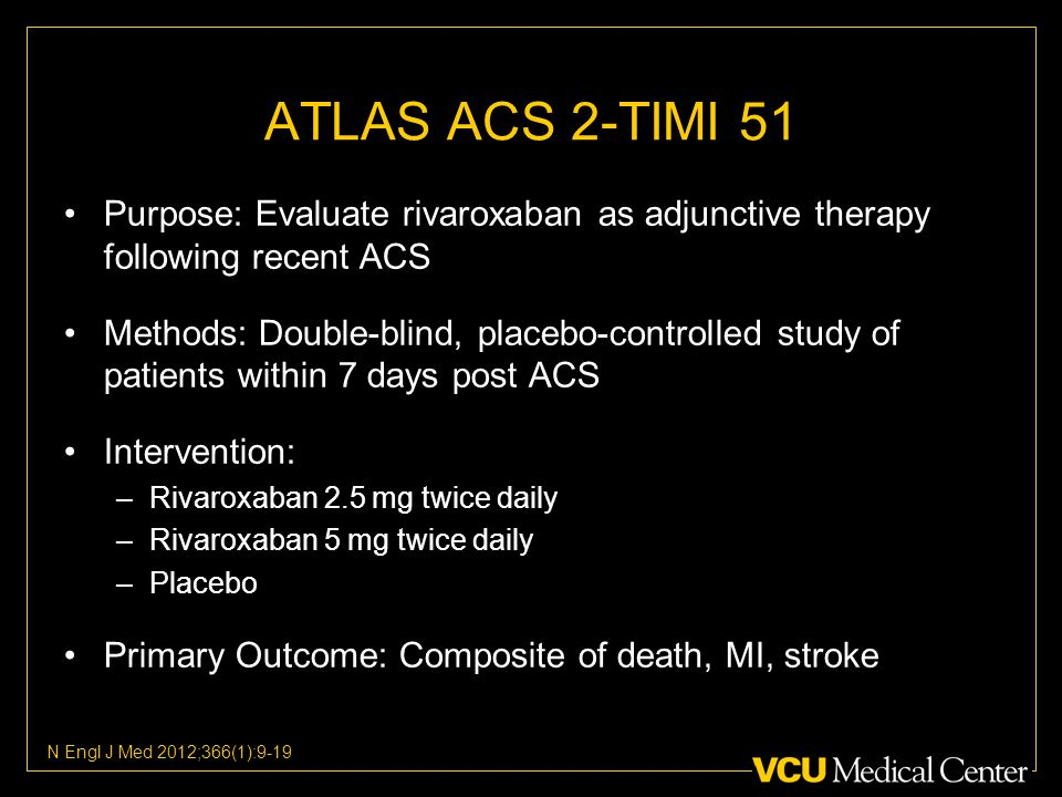ATLAS ACS 2-TIMI 51 Purpose: Evaluate rivaroxaban as adjunctive therapy following recent ACS Methods: Double-blind, placebo-controlled study of patients within 7 days post ACS Intervention: –Rivaroxaban 2.5 mg twice daily –Rivaroxaban 5 mg twice daily –Placebo Primary Outcome: Composite of death, MI, stroke N Engl J Med 2012;366(1):9-19