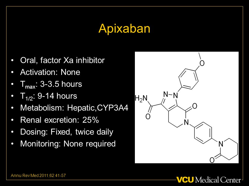 Oral, factor Xa inhibitor Activation: None T max : 3-3.5 hours T 1/2 : 9-14 hours Metabolism: Hepatic,CYP3A4 Renal excretion: 25% Dosing: Fixed, twice daily Monitoring: None required Annu Rev Med 2011;62:41-57