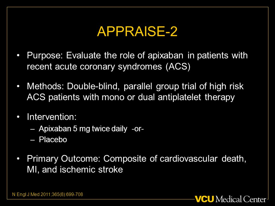 APPRAISE-2 Purpose: Evaluate the role of apixaban in patients with recent acute coronary syndromes (ACS) Methods: Double-blind, parallel group trial of high risk ACS patients with mono or dual antiplatelet therapy Intervention: –Apixaban 5 mg twice daily -or- –Placebo Primary Outcome: Composite of cardiovascular death, MI, and ischemic stroke N Engl J Med 2011;365(8):