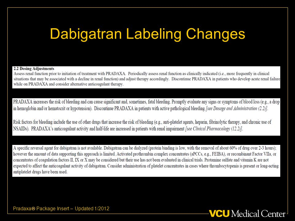 Dabigatran Labeling Changes Pradaxa  Package Insert – Updated 1/2012
