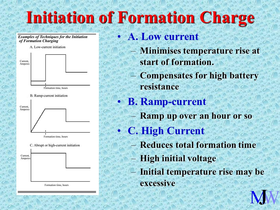 Initiation of Formation Charge A. Low current –Minimises temperature rise at start of formation.