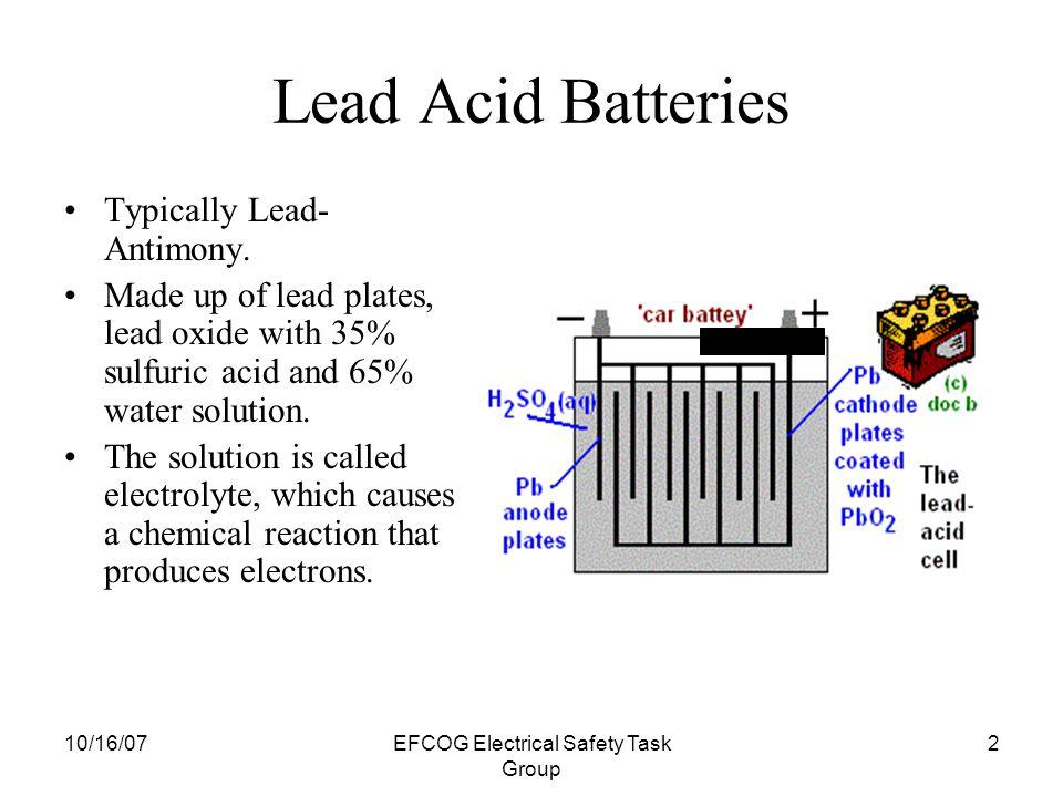 10/16/07EFCOG Electrical Safety Task Group 1 Battery Safety and Handling EFCOG Electrical Safety Task Group Module 9