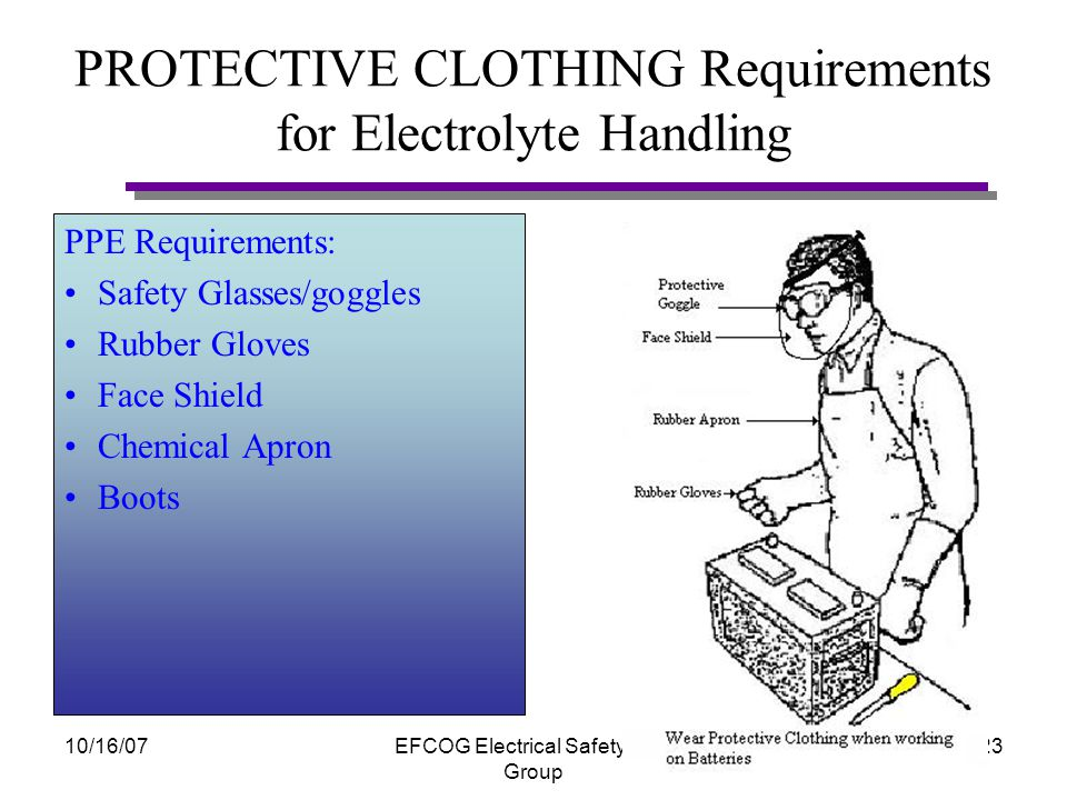 10/16/07EFCOG Electrical Safety Task Group 22 PROTECTIVE CLOTHING General Requirements for Handling For general handling of batteries with terminal post taped PPE Requirements: As specified in local AHA or procedure