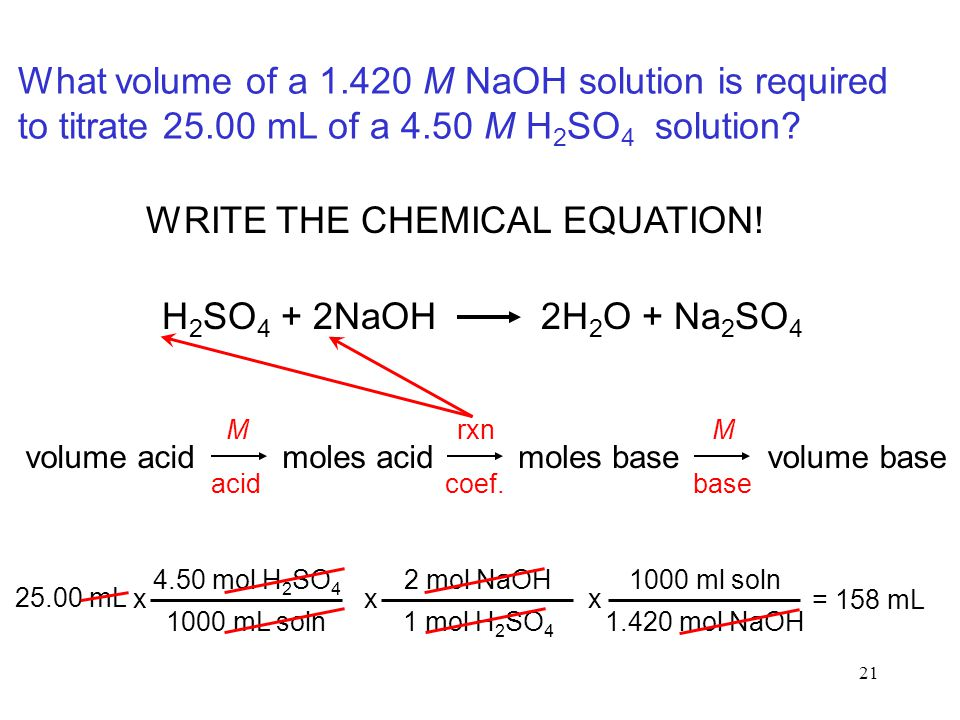 21 What volume of a 1.420 M NaOH solution is required to titrate 25.00 mL of a 4.50 M H 2 SO 4 solution? WRITE THE CHEMICAL EQUATION! volume acidmoles