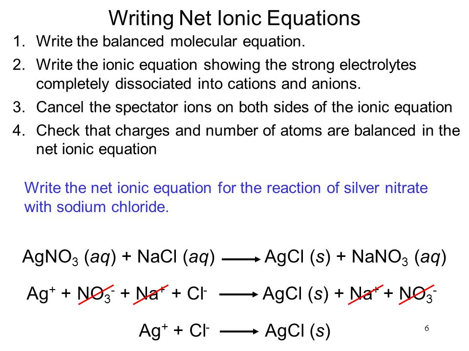 6 Writing Net Ionic Equations 1.Write the balanced molecular equation. 2.Write the ionic equation showing the strong electrolytes completely dissociat