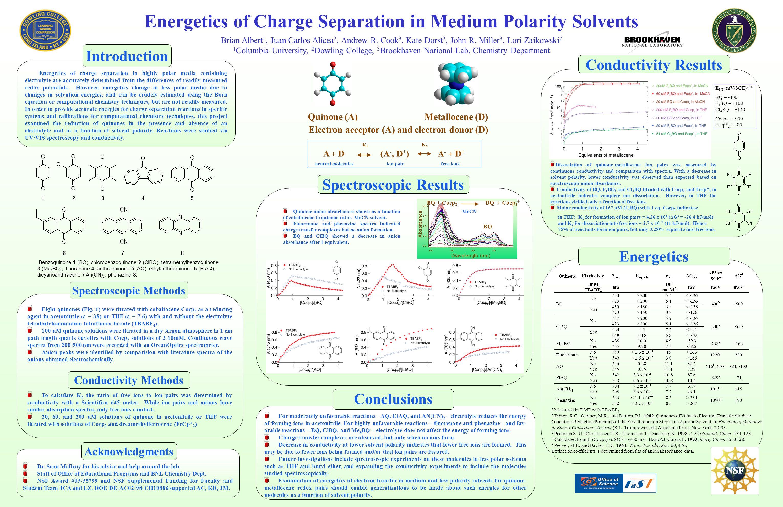 Energetics of Charge Separation in Medium Polarity Solvents Brian Albert 1, Juan Carlos Alicea 2, Andrew R. Cook 3, Kate Dorst 2, John R. Miller 3, Lo