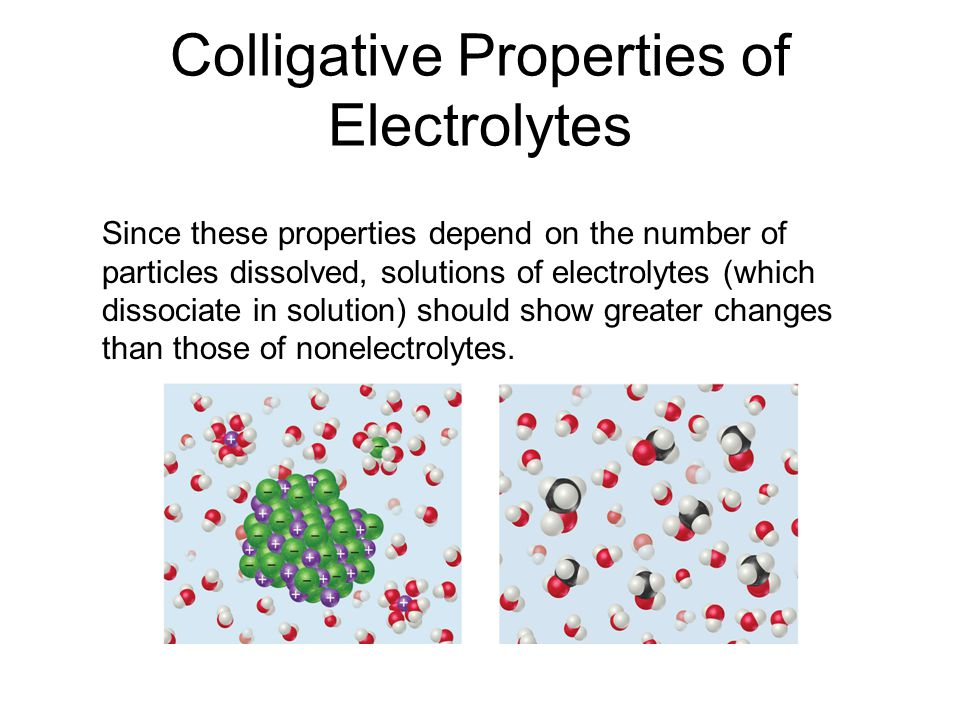 Colligative Properties of Electrolytes Since these properties depend on the number of particles dissolved, solutions of electrolytes (which dissociate in solution) should show greater changes than those of nonelectrolytes.