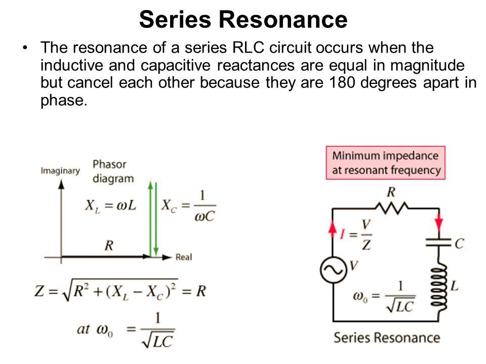 Series Resonance The resonance of a series RLC circuit occurs when the inductive and capacitive reactances are equal in magnitude but cancel each other because they are 180 degrees apart in phase.