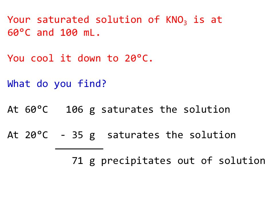 Your saturated solution of KNO 3 is at 60°C and 100 mL.