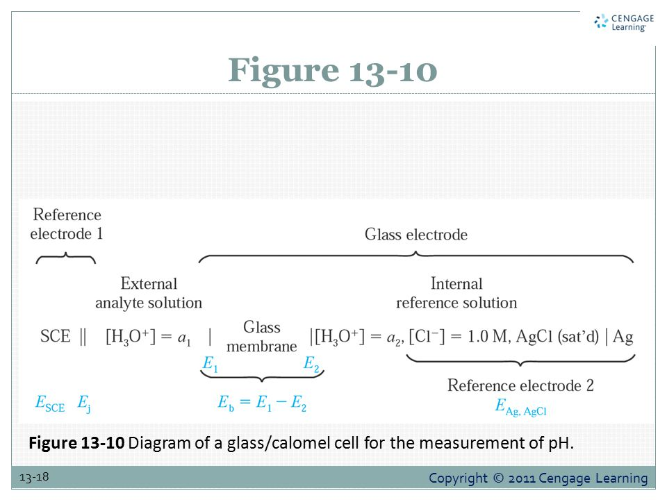 Copyright © 2011 Cengage Learning 13-18 Figure 13-10 Figure 13-10 Diagram of a glass/calomel cell for the measurement of pH.