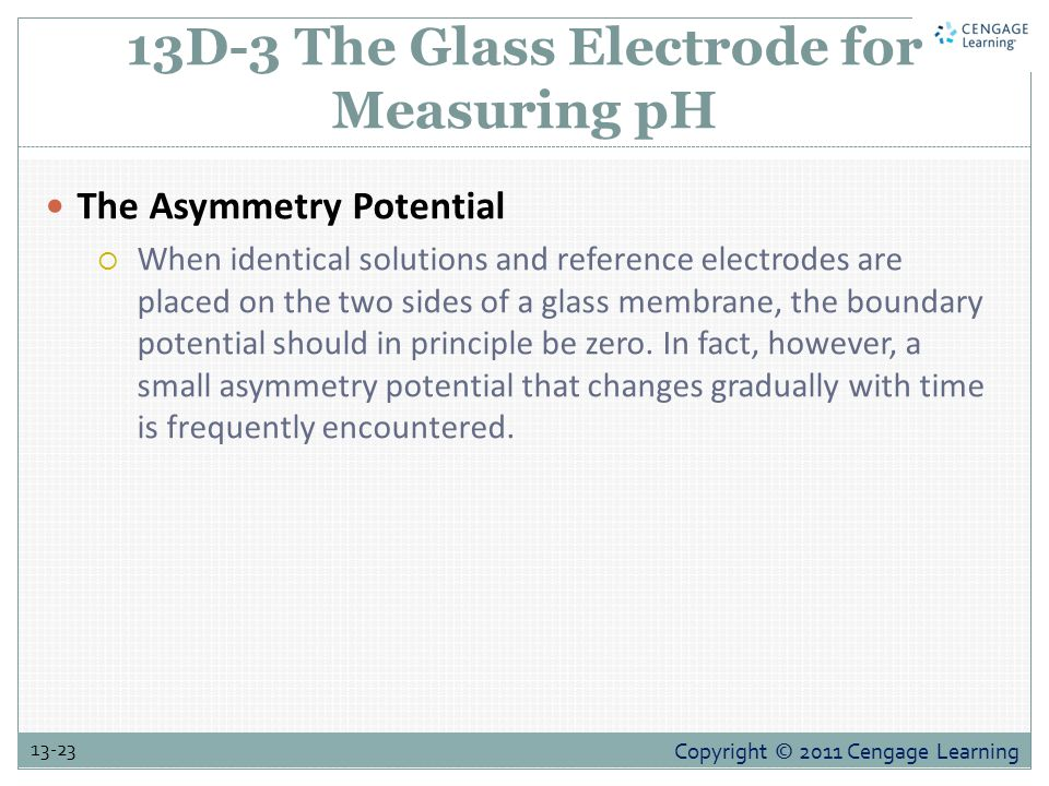 Copyright © 2011 Cengage Learning 13-23 13D-3 The Glass Electrode for Measuring pH The Asymmetry Potential  When identical solutions and reference electrodes are placed on the two sides of a glass membrane, the boundary potential should in principle be zero.