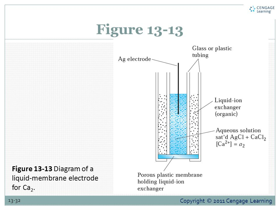 Copyright © 2011 Cengage Learning 13-32 Figure 13-13 Figure 13-13 Diagram of a liquid-membrane electrode for Ca 2.