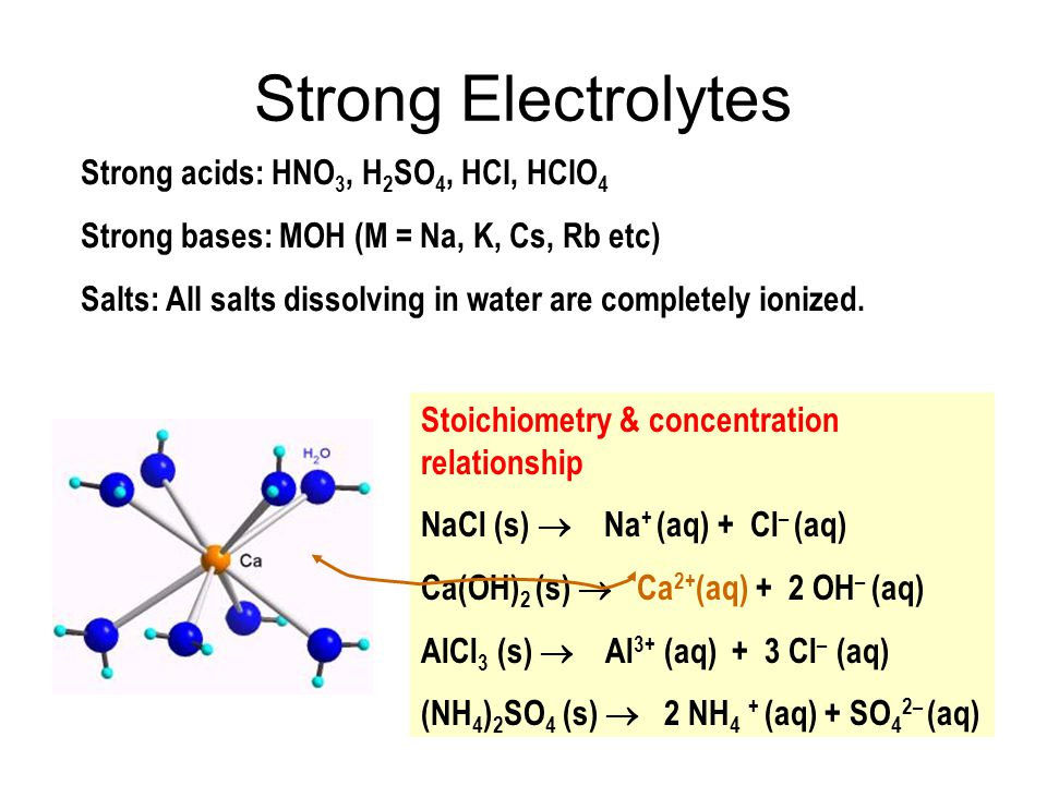 Strong Electrolytes Strong acids: HNO 3, H 2 SO 4, HCl, HClO 4 Strong bases: MOH (M = Na, K, Cs, Rb etc) Salts: All salts dissolving in water are comp