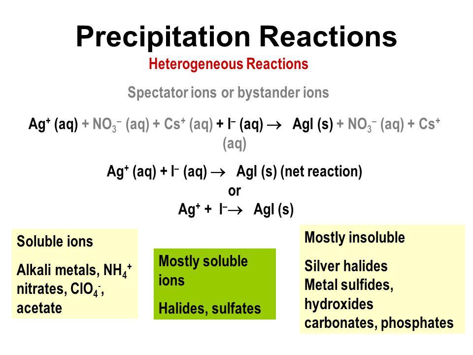 Precipitation Reactions Ag + (aq) + NO 3 – (aq) + Cs + (aq) + I – (aq)  AgI (s) + NO 3 – (aq) + Cs + (aq) Ag + (aq) + I – (aq)  AgI (s) (net reactio