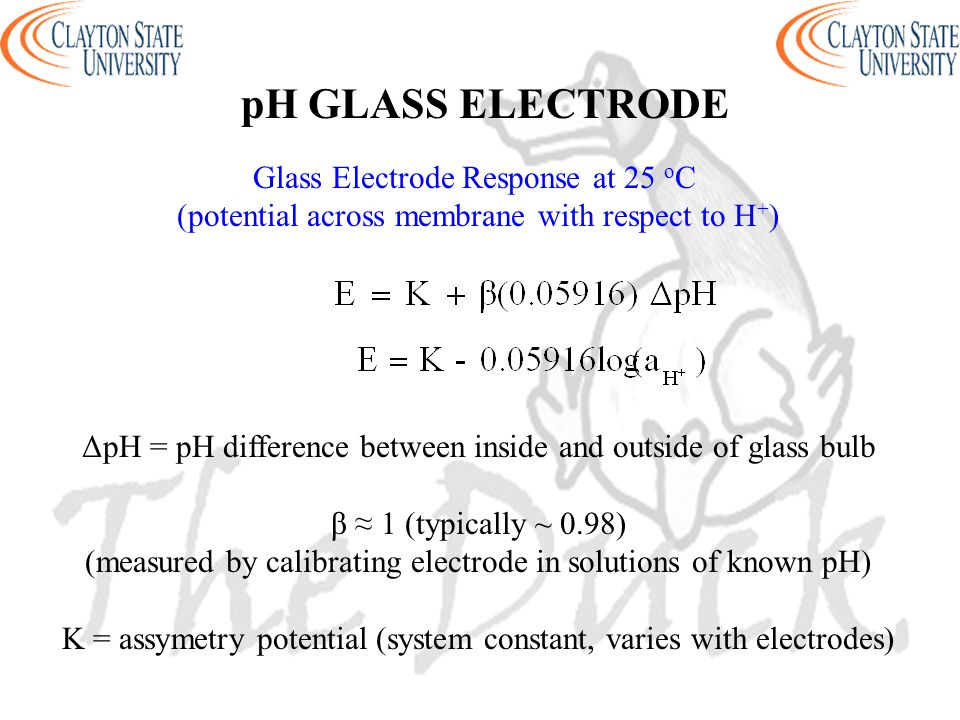 pH GLASS ELECTRODE Glass Electrode Response at 25 o C (potential across membrane with respect to H + ) ΔpH = pH difference between inside and outside of glass bulb β ≈ 1 (typically ~ 0.98) (measured by calibrating electrode in solutions of known pH) K = assymetry potential (system constant, varies with electrodes)