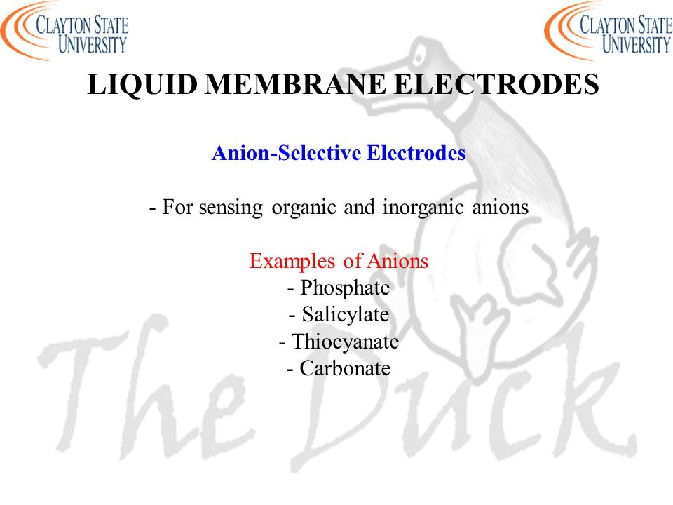Anion-Selective Electrodes - For sensing organic and inorganic anions Examples of Anions - Phosphate - Salicylate - Thiocyanate - Carbonate LIQUID MEM