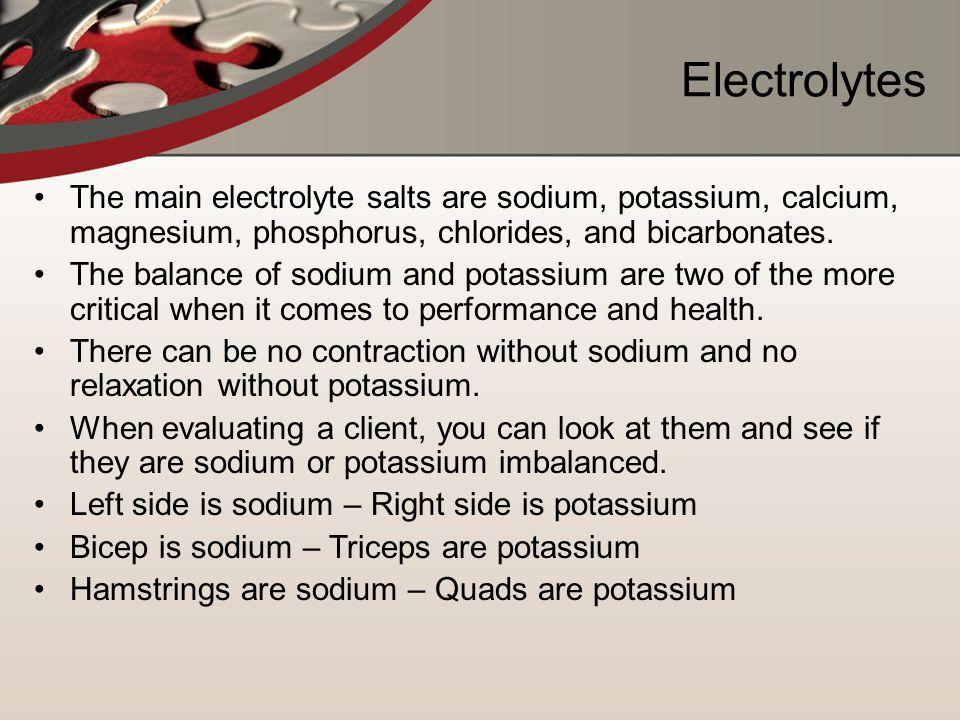 Electrolytes The main electrolyte salts are sodium, potassium, calcium, magnesium, phosphorus, chlorides, and bicarbonates.