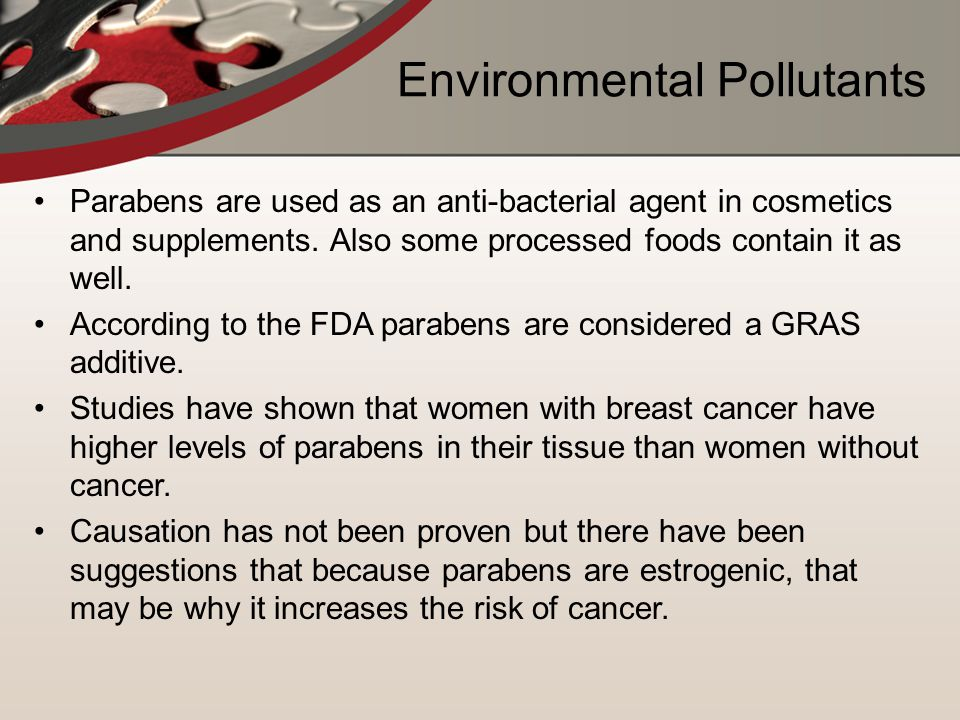 Environmental Pollutants Parabens are used as an anti-bacterial agent in cosmetics and supplements.