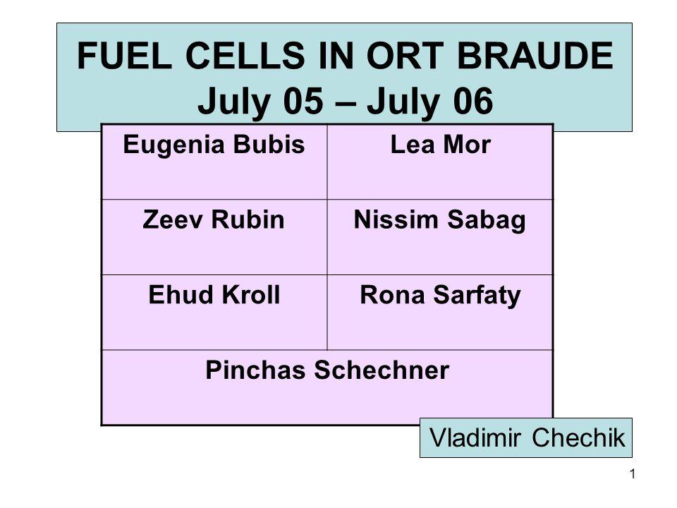 1 FUEL CELLS IN ORT BRAUDE July 05 – July 06 Lea MorEugenia Bubis Nissim SabagZeev Rubin Rona SarfatyEhud Kroll Pinchas Schechner Vladimir Chechik