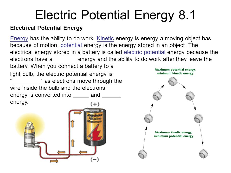 Electric Potential Energy 8.1 Electrical Potential Energy Energy has the ability to do work.