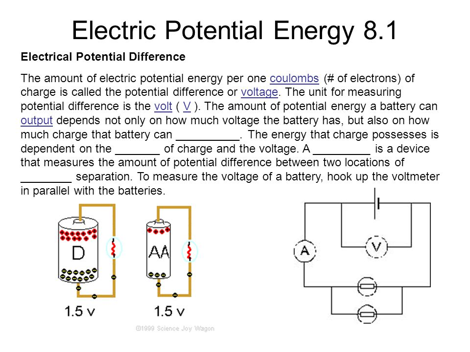 Electric Potential Energy 8.1 Electrical Potential Difference The amount of electric potential energy per one coulombs (# of electrons) of charge is called the potential difference or voltage.