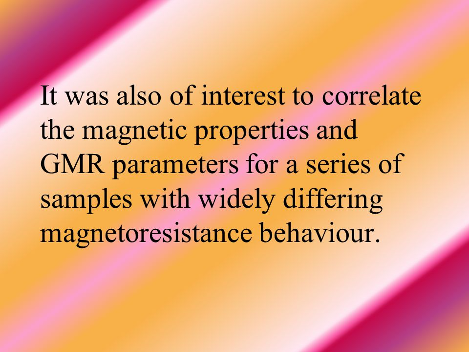All these considerations led us to perform the present work aimed at investigating the influence of Co- content on the GMR and magnetic properties of
