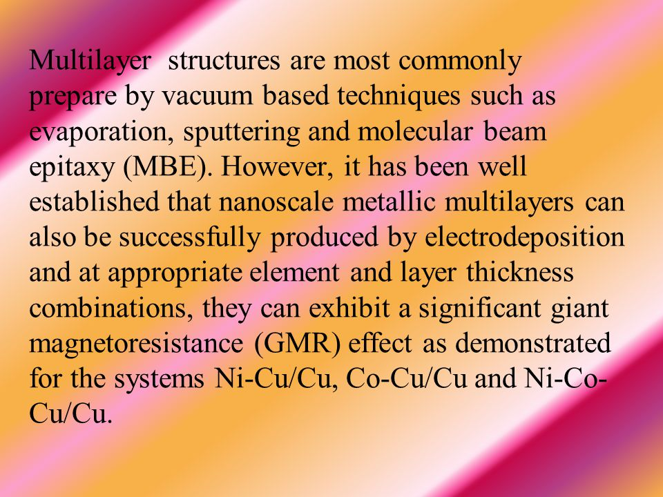 Multilayer structures are most commonly prepare by vacuum based techniques such as evaporation, sputtering and molecular beam epitaxy (MBE).