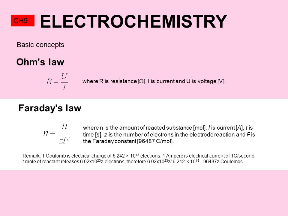 ELECTROCHEMISTRY CH9 Ohm s law where R is resistance [  ], I is current and U is voltage [V].