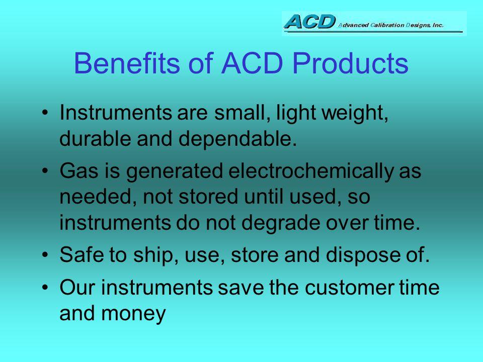 ACD Product range The CAL2000 The MiniCal The MiniBump