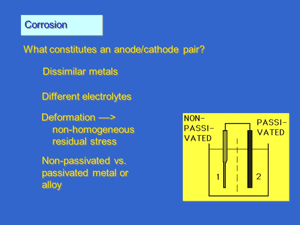 Corrosion What constitutes an anode/cathode pair.
