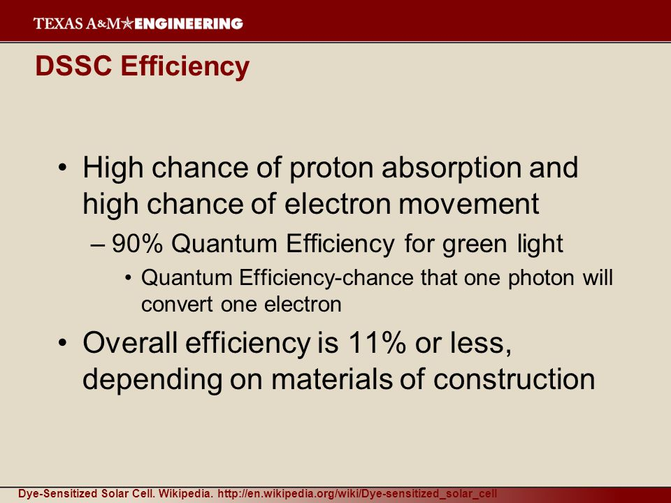 DSSC Efficiency High chance of proton absorption and high chance of electron movement –90% Quantum Efficiency for green light Quantum Efficiency-chance that one photon will convert one electron Overall efficiency is 11% or less, depending on materials of construction Dye-Sensitized Solar Cell.