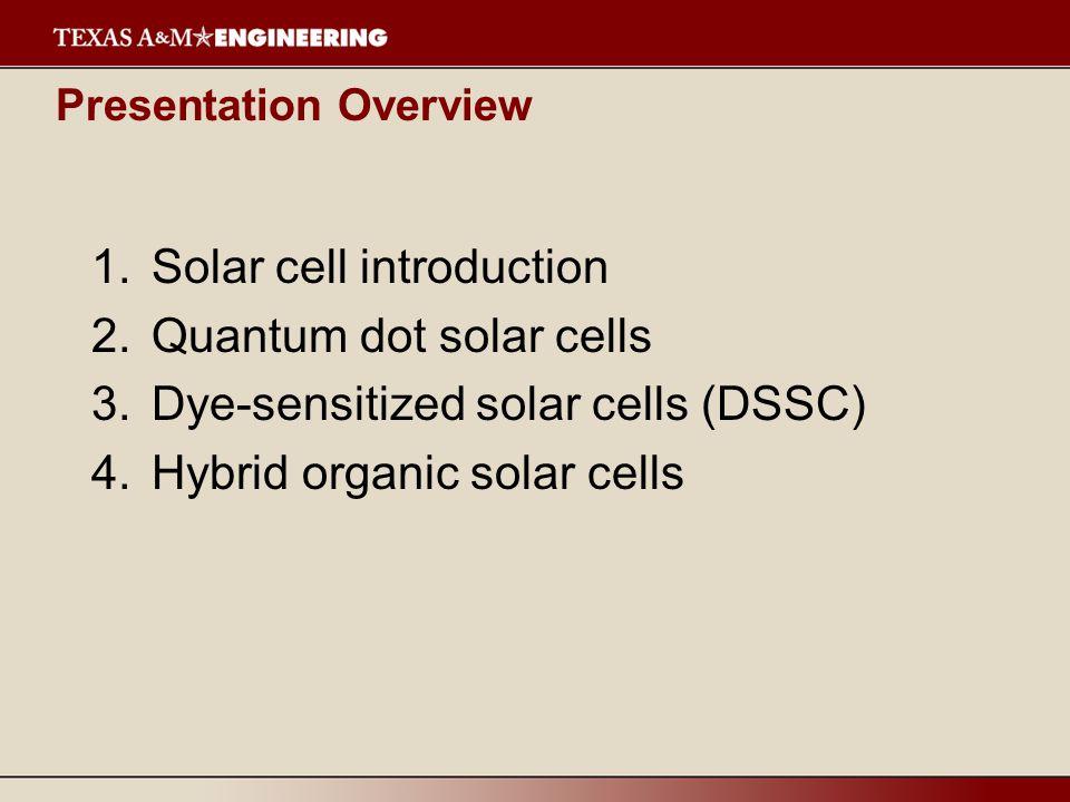 Presentation Overview 1.Solar cell introduction 2.Quantum dot solar cells 3.Dye-sensitized solar cells (DSSC) 4.Hybrid organic solar cells