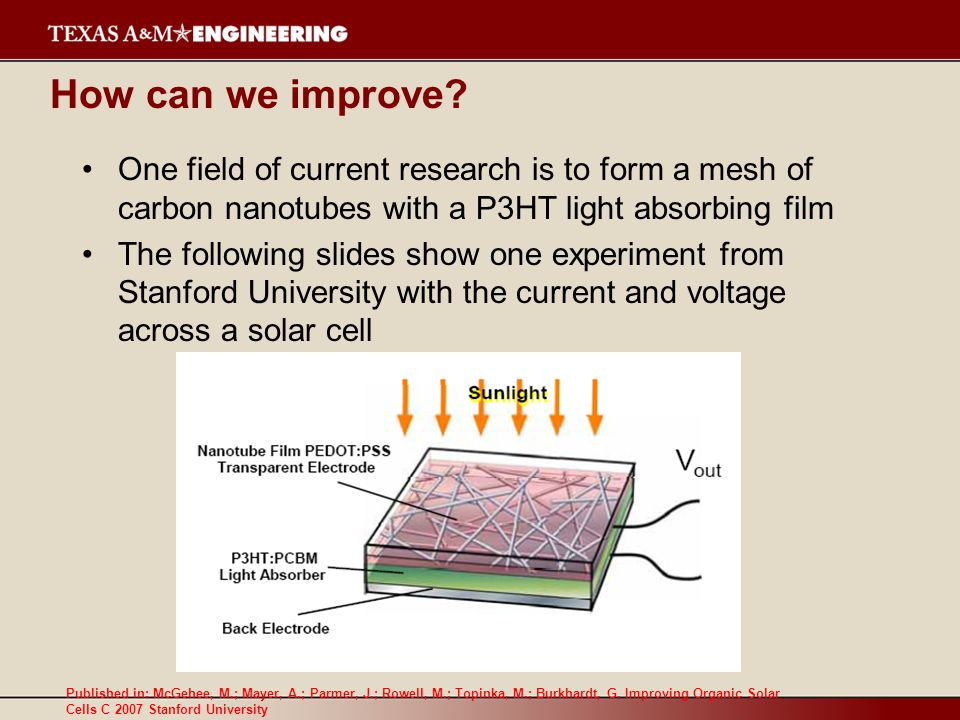 How can we improve? One field of current research is to form a mesh of carbon nanotubes with a P3HT light absorbing film The following slides show one