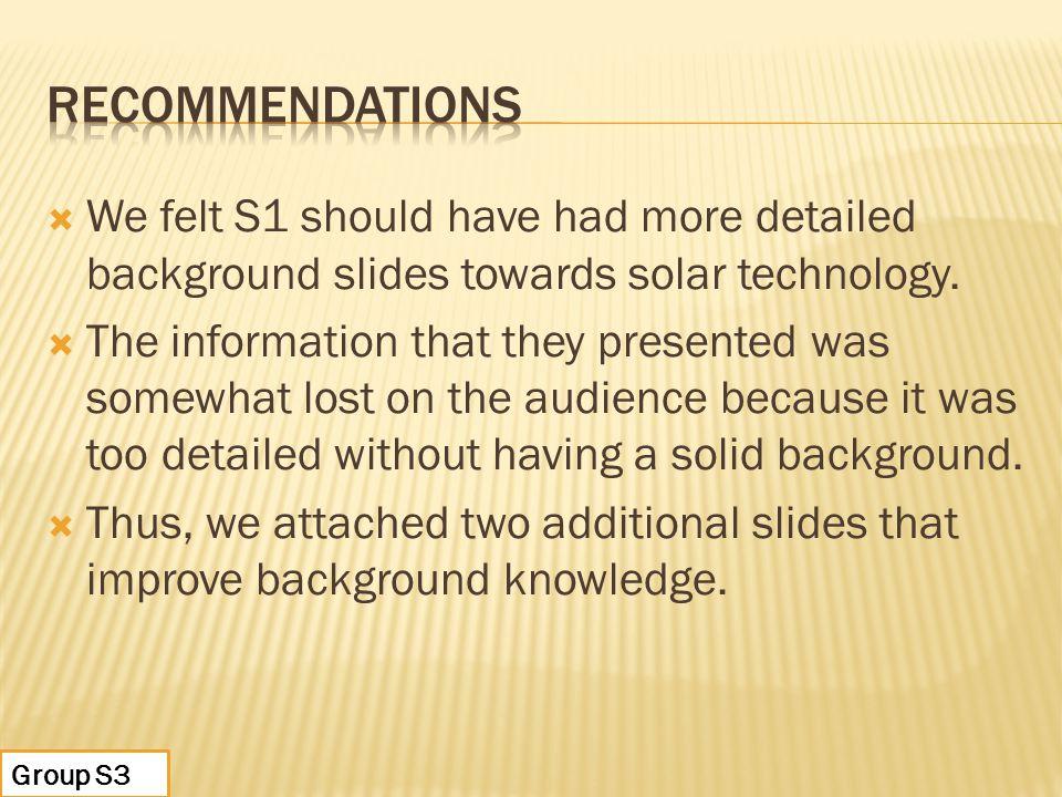  We felt S1 should have had more detailed background slides towards solar technology.