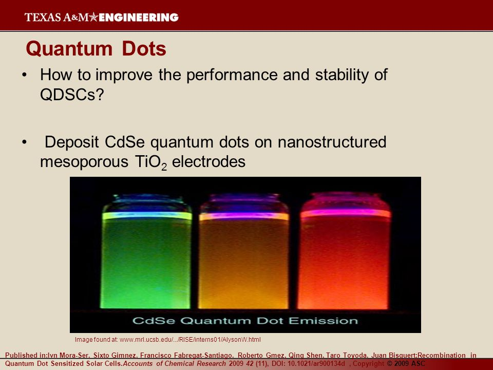 Quantum Dots How to improve the performance and stability of QDSCs? Deposit CdSe quantum dots on nanostructured mesoporous TiO 2 electrodes Image foun