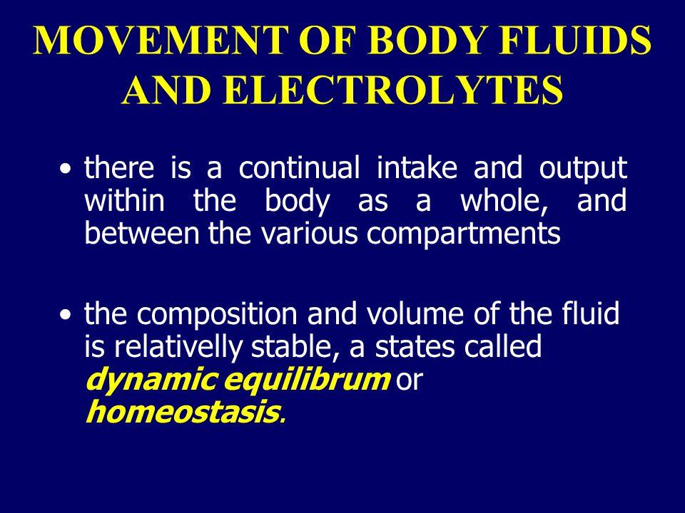 Major electrolytes and their distribution