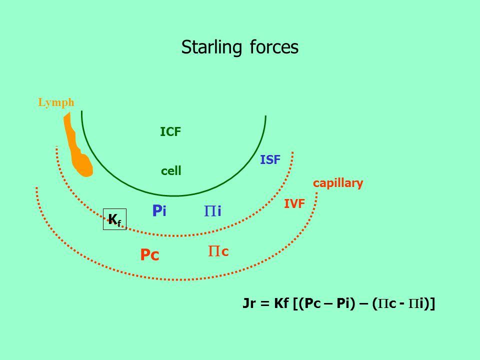Factors favor edema formation: 1.  capillary hydrostatic pressure (  Pc) 2.  plasma oncotic pressure (  c ) 3.  capillary permeability (Kf) resu
