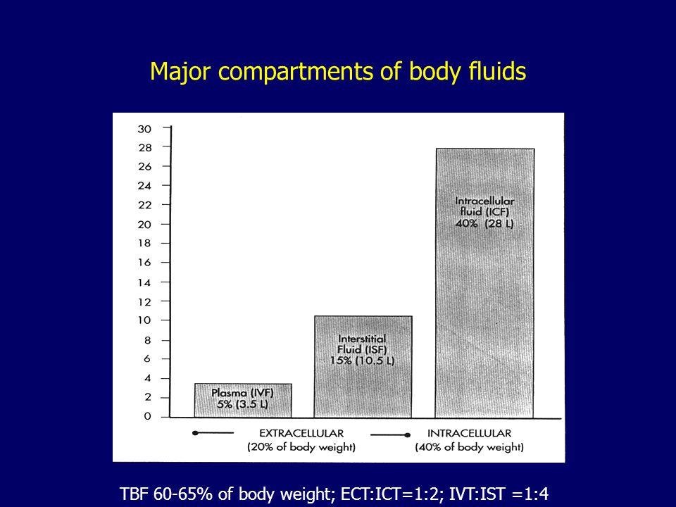 Major Compartments of Body Fluid 1. intracellular fluid (ICF) - 40 % (2/3) TBW (in the adult) 2. extracellular fluid (ECF) - 20 % (1/3) –a. interstiti