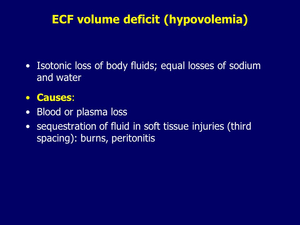 Osmotic imbalances - affect ICF - involve relatively unequal losses or gains of Na + and water -  concentration of Na + in the ECF  water moves from