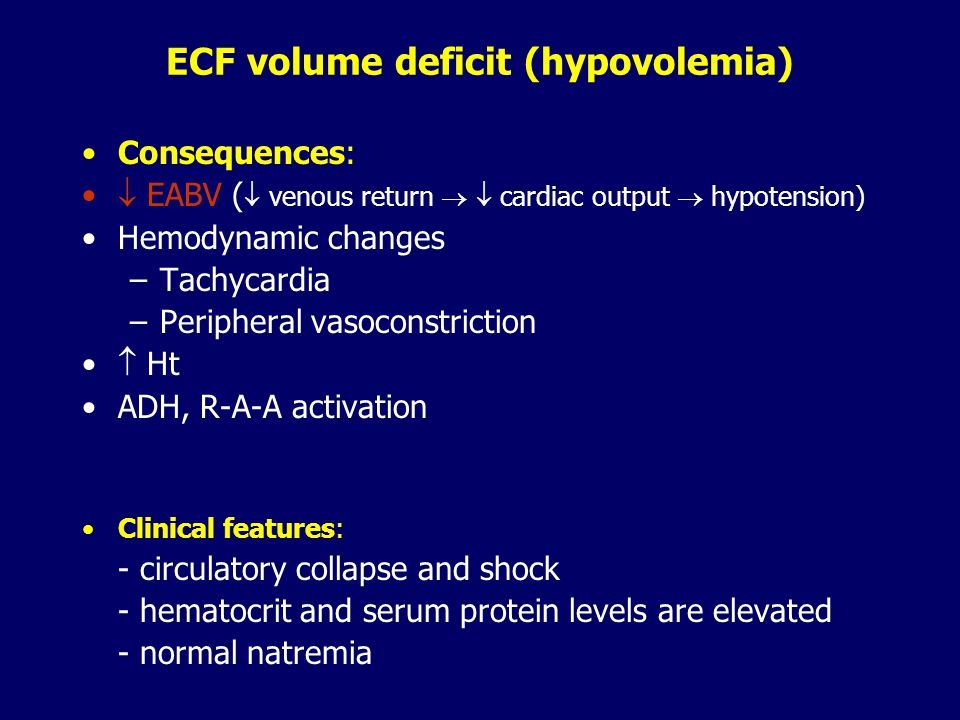ICV ECV IVVISV H2OH2O NaCl ECF volume deficit - hypovolemia