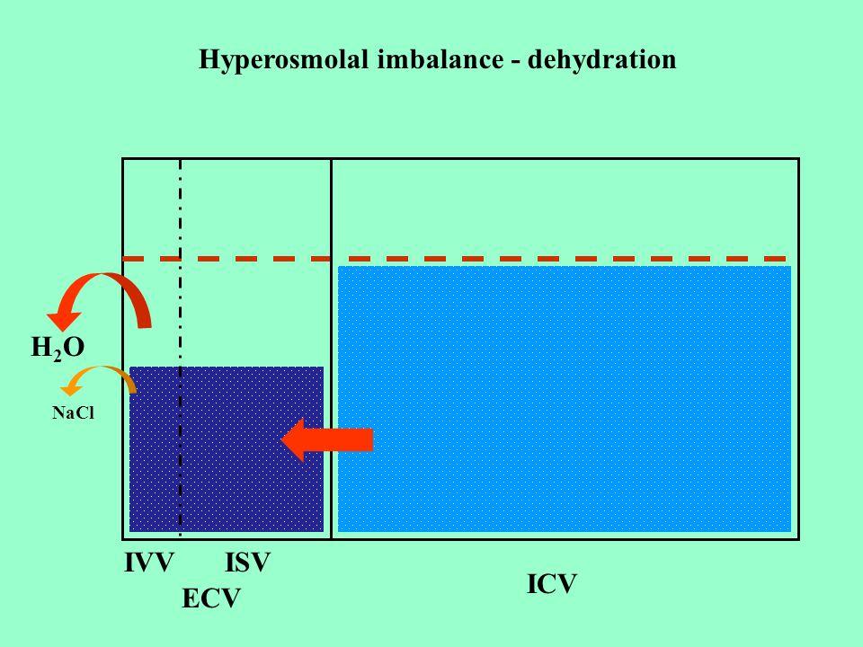 ICV ECV IVVISV H2OH2O NaCl Hyperosmolal imbalance - dehydration