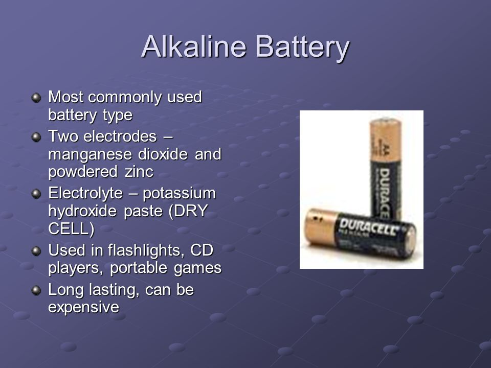 Types of Batteries Alkaline Battery Lead Acid Battery Nickel-Cadmium Battery Lithium Battery