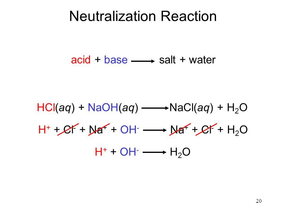 20 Neutralization Reaction acid + base salt + water HCl(aq) + NaOH(aq) NaCl(aq) + H 2 O H + + Cl - + Na + + OH - Na + + Cl - + H 2 O H + + OH - H 2 O