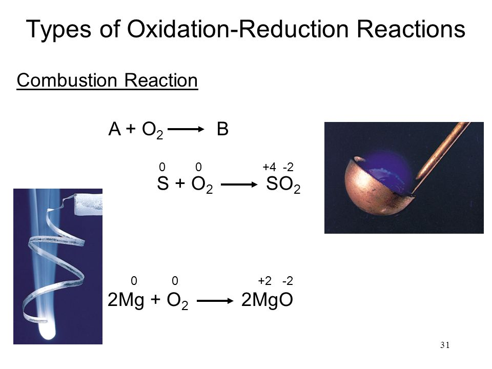 31 Types of Oxidation-Reduction Reactions Combustion Reaction A + O 2 B S + O 2 SO 2 00 +4-2 2Mg + O 2 2MgO 00 +2-2