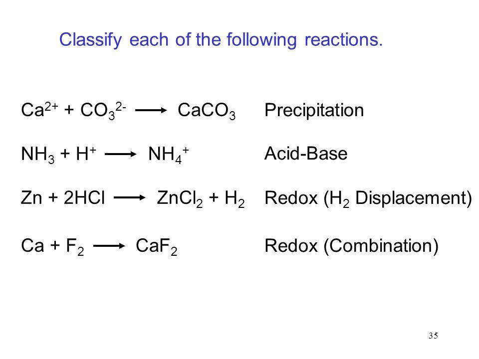 35 Ca 2+ + CO 3 2- CaCO 3 NH 3 + H + NH 4 + Zn + 2HCl ZnCl 2 + H 2 Ca + F 2 CaF 2 Precipitation Acid-Base Redox (H 2 Displacement) Redox (Combination)