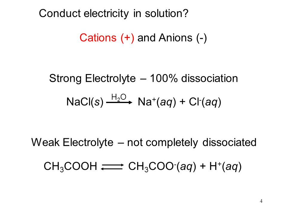 4 Strong Electrolyte – 100% dissociation NaCl(s) Na + (aq) + Cl - (aq) H2OH2O Weak Electrolyte – not completely dissociated CH 3 COOH CH 3 COO - (aq)