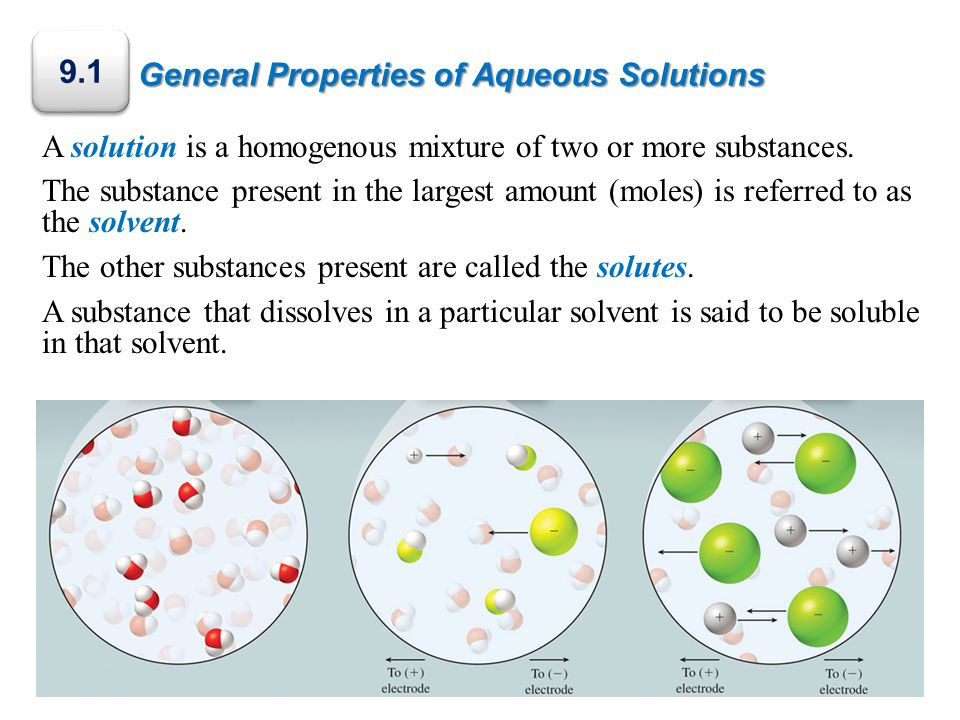 General Properties of Aqueous Solutions A solution is a homogenous mixture of two or more substances.