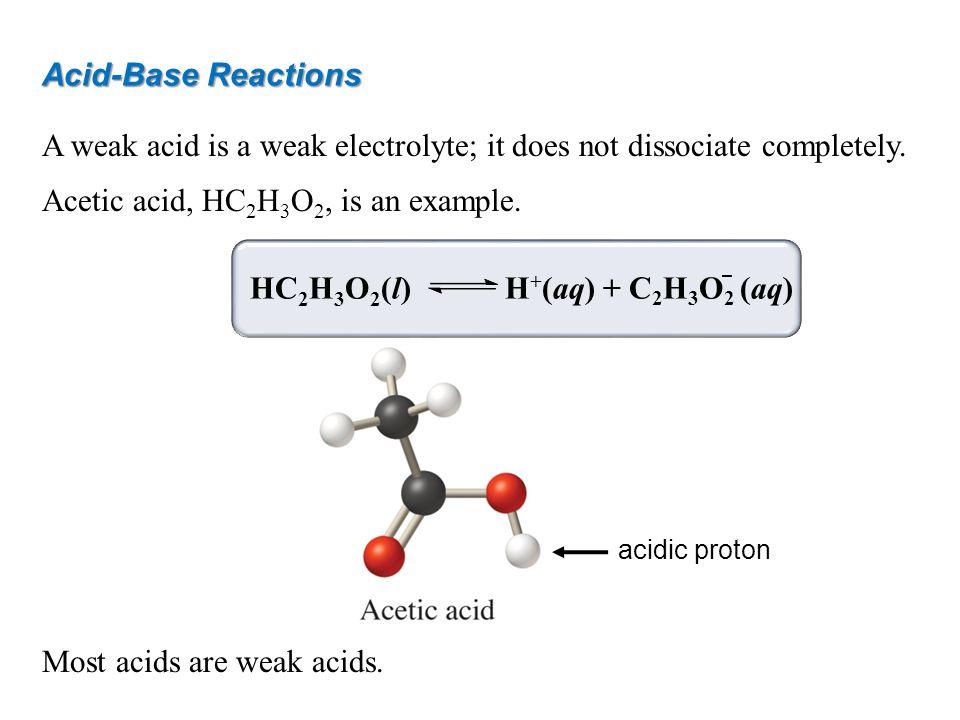 Acid-Base Reactions A weak acid is a weak electrolyte; it does not dissociate completely.