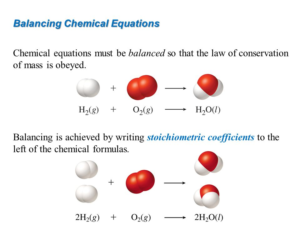 Chemical equations must be balanced so that the law of conservation of mass is obeyed. Balancing is achieved by writing stoichiometric coefficients to